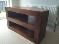 Solid Mango Wood Corner TV Unit - with storage shelves and open back for cable access