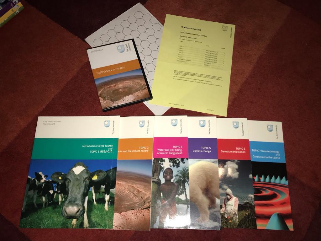 Open University S250 Science in Context level 2 course books / materials