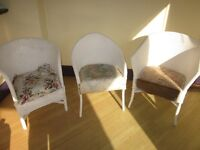 3 White cane conservatory chairs, in need of refurbishment