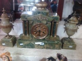 Large Marble Mantle Clock with two side pots