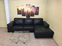 Flawless Black Leather Corner Sofa