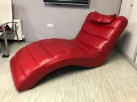 Red Leather Chaise Longue sofa couch