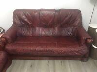3 piece burgundy leather suite