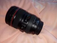 Canon EF 24-105mm f/4L IS USM lens with hood and soft bag