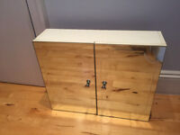 """BATHROOM WALL CABINET. 22"""" x 18"""" x 6"""". White with mirrored front, shelving, very good condition"""