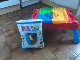 Mega Bloks table and blocks