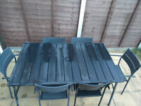 Metal garden table with 6 chairs black powder coated