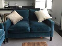 2 seater beautiful matt velvet teal Sofa