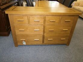 Quality solid oak merchants chest of 8 drawers, ex-display, excellent condition