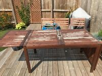 Extendable dining table and 4 chairs, ikea set