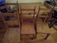Mexican Corona Pine Table and 4 Chairs