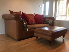 Nut-brown Aniline Leather MOSELLE similar to Tetrad 3 seater Sofa and Footstool DELIVERY