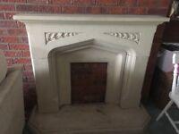 Stone cream fireplace surround