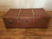 Vintage Banded Steamer Trunk / Chest / Blanket Box
