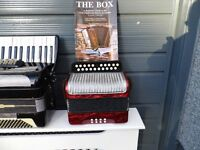 Hohner Double Ray Black dot 2 Row Button box. and other Accordions for sale contact for price