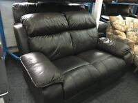 New / Ex Display LazyBoy Black/Brown Leather Recliner 2 Seater