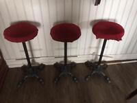3 cast iron pub stools