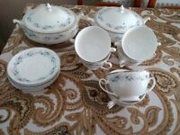 Bone china vintage set of 6 soup bowls, saucers and 2 tureens in excellent condition
