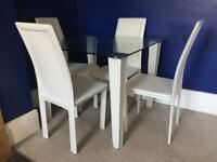 Dining table glass top + 4 matching chairs