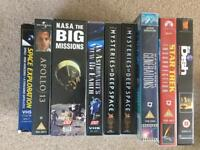 9 space and sci-fi VHS tapes.