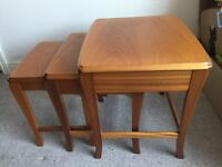Solid wood nesting tables