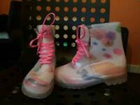 Pink flower wellie boots lace up size 8