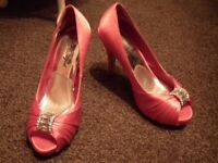 Red peep toe heels size 5 excellent condition