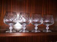 Cut Glass Glasses - Brandy Shape