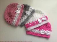 4 x Handmade Baby hats 3-6 months