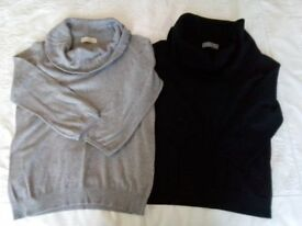 Ladies M&S cowl neck knitted jumpers, size 10, grey and black. PRICE IS FOR EACH ITEM.