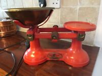 Vintage Retro Kitchen Scales Cast Iron Volcanic Orange