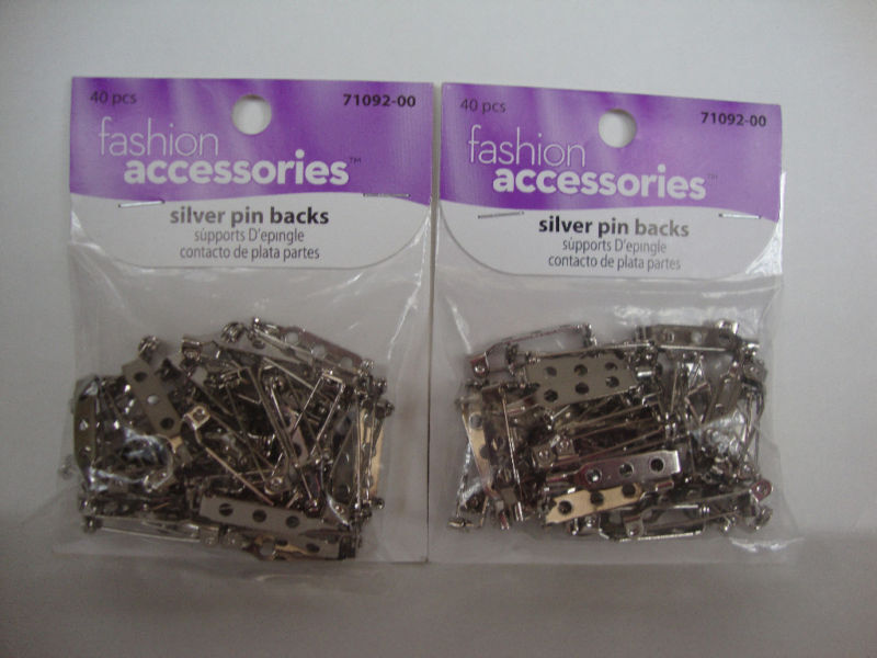 """BAR STYLE PIN BACKS WITH SAFETY CATCH 3/4"""" - SILVER 2 PACKAGES"""