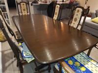 Ercol Dark Oak Dining table with 6 Hampton chairs