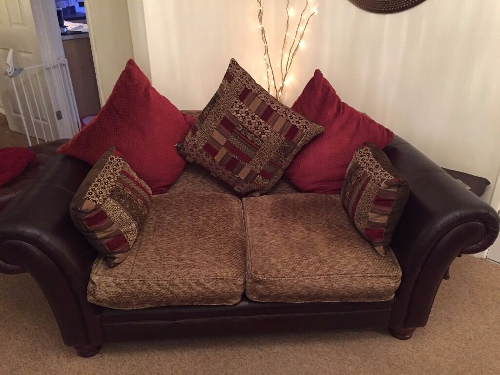 Dfs Perez Leather Fabric 3 Seater And 2 Seater Sofa In