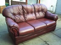 Traditionally styled 3 seater brown leather sofa - can deliver locally