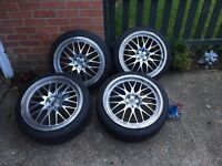 Set of 4 alloy wheels with tyres. 215/40R18. 5 stud suitable for VW.
