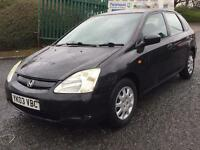 HONDA CIVIC SPORT 2003 12MONTHS MOT STARTS AND DRIVES EXCELLENT