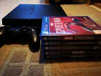 PLAYSTATION 4 + SPIDER-MAN, AND 4 GAMES