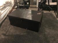 Black metal vintage chest box coffee table storage trunk