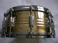 "Pearl 4914DC Jupiter brass snare drum 14 x 6 1/2"" - Japan - '70s - Ludwig Supersensitive homage"