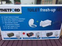 Thetford C250/C260 Toilet Fresh-Up Set Brand New In Box-Includes Cassette & Toilet Seat