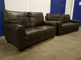 2 DARK BROWN LEATHER SOFAS 3 & 2 SEATER SOFA / LOUNGE SUITE / SETTEE SET DELIVERY AVAILABLE