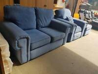 Modern blue fabric sofa and chair suite