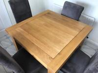 Oak furniture dining table and chairs
