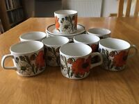 """Poppy"" cups & saucers"