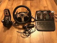 Logitech G25 force feedback steering wheel, 6-spd shifter and triple pedals for PS3/PC