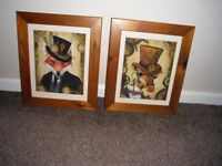 2 STEAMPUNK STYLE GIRAFFE AND FOX PRINTS IN WOODEN PINE/TEAK WITH CREAM FRAME MOUNTS.