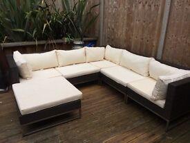 John Lewis Rattan garden furniture L Shaped white cushions