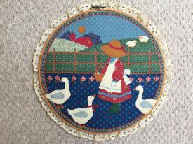 Vintage 1980s American twee, sentimental, cute fabric picture in embroidery hoop- girl feeding geese