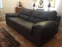 2 x Leather Dark Brown / Black Sofa Set, one 3 Seater other 4 Seater sofas, Excellent condition.
